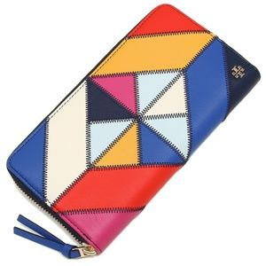 NW Tory Burch Multi Color leather Patchwork Wallet